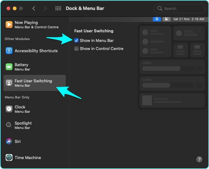 Select Fast User Switching and click checkbox for Show in Menu Bar