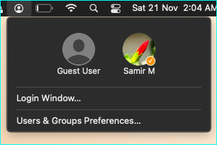 Fast User Switching option in Menu Bar