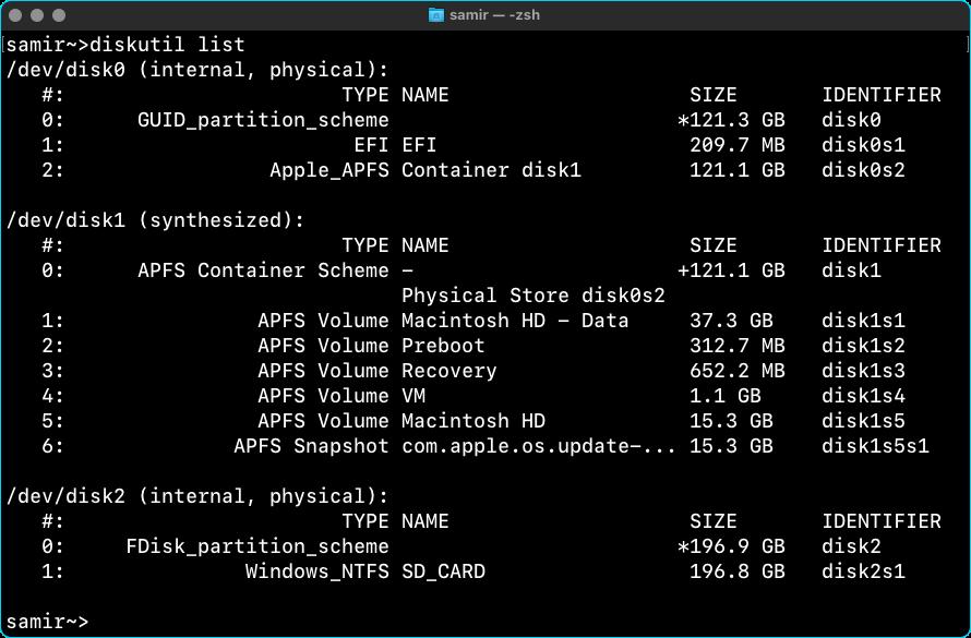 Terminal (Mac) DiskUtil Command